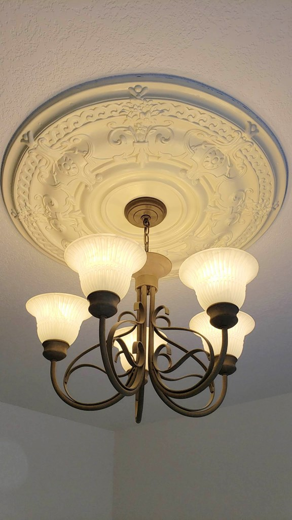 Master BR chandelier and ceiling medallion